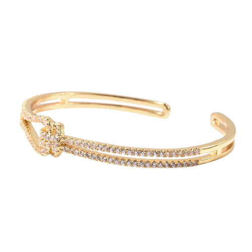 Simulated Diamond Knot Bangle (Size 7) in Yellow Gold Tone