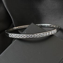 J Francis Platinum Overlay Sterling Silver Bangle (Size 7.5) Made with SWAROVSKI ZIRCONIA 7.31 Ct, Silver wt 17.74 Gms