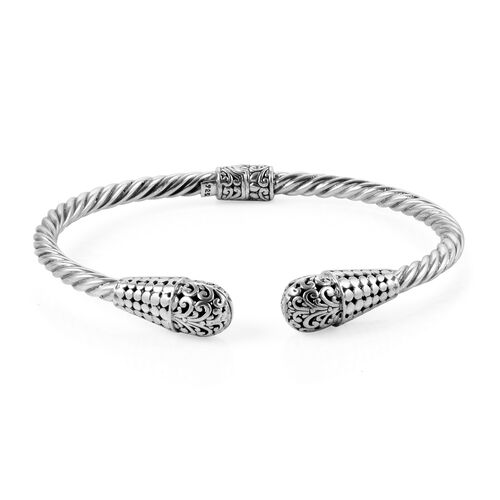 Royal Bali Collection Sterling Silver Cuff Bangle (Size 7.5), Silver wt 17.84 Gms.