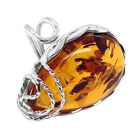 Natural Baltic Amber Ring in Sterling Silver, Silver wt 5.37 Gms