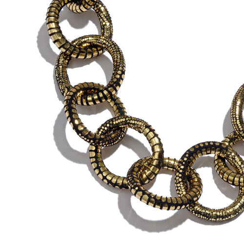 Circle Link Leather Chain (Size 26 with 1 inch Extender) in Gold Tone