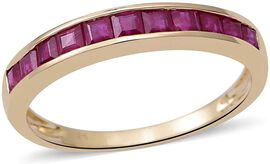 9K Yellow Gold Ruby Half Eternity Ring 1.47 Ct.