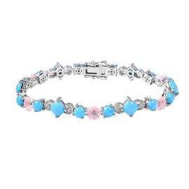 Sleeping Beauty Turquoise and Multi Gemstones Bracelet in Gold Plated Sterling Silver 15 Grams