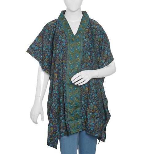 Designer Inspired-Black Blue and Multi Colour Floral Print Jacket (Size 80x70 Cm)