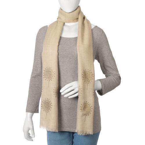 New Zealand Super Fine Merino Wool and Silk Beige Colour Scarf Hand Stitched Sequin Work (Size 200x70 Cm)