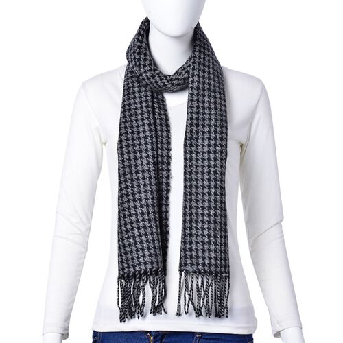 Designer Inspired-Woolen Black and Grey Colour Houdstooth Pattern Scarf with Tassels (Size 180x30 Cm)