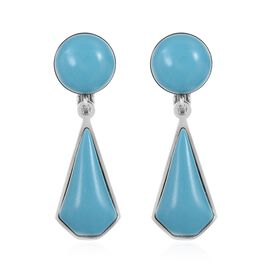 Blue Howlite Clip - On Dangle Earrings in Stainless Steel 13.000 Ct.