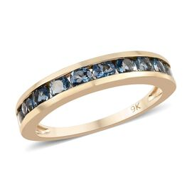 0.75 Ct AAA Santa Maria Aquamarine Half Eternity Band Ring in 9K Yellow Gold 1.65 Grams