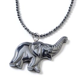 One Time Deal- Set of 2 Hematite Necklace (Size 22) and Elephant Pendant Set in Stainless Steel With Magnetic Lock 164.500 Ct.