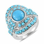 Designer Inspired- Arizona Sleeping Beauty Turquoise (Ovl and Rnd) Cluster Ring (Size O) in Platinum Overlay