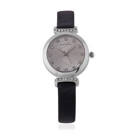 ETERNITY Swarovski Studded Ladies Watch with a Genuine Leather Strap - Silver Tone