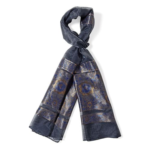 Black Colour Shiny Plum Blossom Pattern with Navy Colour Strip Scarf (Size 190x75 Cm)