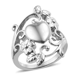 Platinum Overlay Sterling Silver Heart Floral Ring, Silver wt 5.66 Gms.