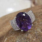 Canela Amethyst (Ovl 16x12 mm), Natural Cambodian Zircon Ring (Size N) in  Platinum Overlay Sterling Silver 8.250 Ct, Silver wt 7.05 Gms.
