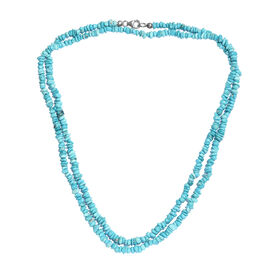 Artisan Crafted Arizona Sleeping Beauty Turquoise Beaded Necklace in Platinum Plated Sterling Silver