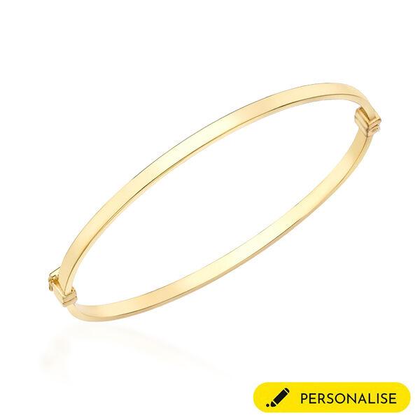 Personalised 9k Yellow Gold 3MM Rectangular Tube Oval Bangle Size 7