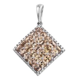 2.75 Ct Imperial Topaz Kite Shape Cluster Pendant in Platinum Plated Silver