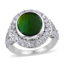 AA Canadian Ammolite and Cambodian Zircon Ring in Platinum Plated Silver