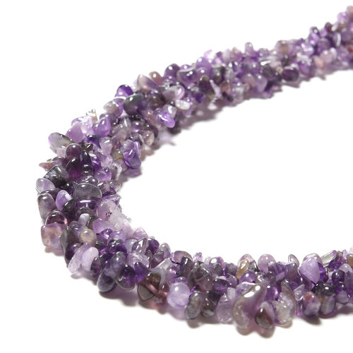 3 Piece Set - Amethyst Necklace (Size 18), Stretchable Bracelet (Size 7) and Hook Earrings in Stainless Steel 789.00 Ct.