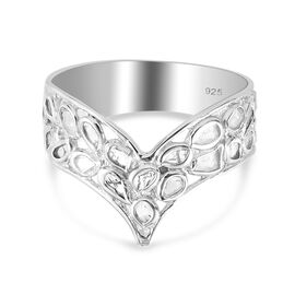 Artisan Crafted Polki Diamond Ring in Platinum Overlay Sterling Silver 1.00