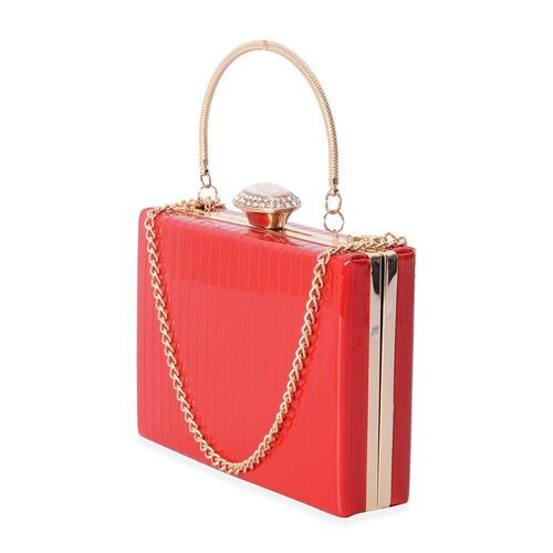Boutique Collection Vintage Style Red Clutch Bag with Removable Iron Chain Shoulder Strap (Size 17.5x12x4.5 Cm)
