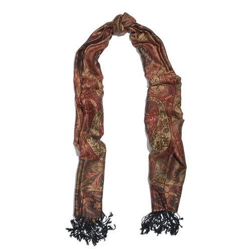 Silk Mark - 100% Super Fine Silk Bombay Brown, Red and Multi Colour Floral and Paisley Pattern Jacquard Jamawar Scarf with Tassels (Size 180x70 Cm) (Weight 125 - 140 Gms)