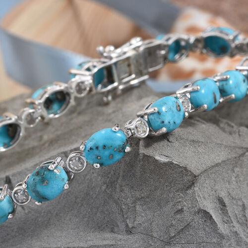 Persian Turquoise (Ovl), Diamond Bracelet (Size 7.5) in Platinum Overlay Sterling Silver 20.250 Ct, Silver wt 9.00 Gms