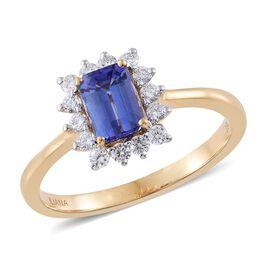 ILIANA 18K Yellow Gold AAA Tanzanite (Oct 1.00 Ct), Diamond Ring 1.350 Ct.