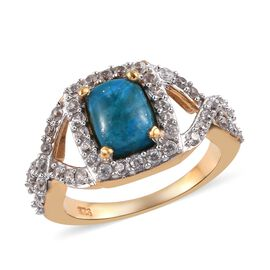 2.25 Ct Natural Peruvian Peacock Opalina and Zircon Halo Ring in 14K Gold Plated Sterling Silver