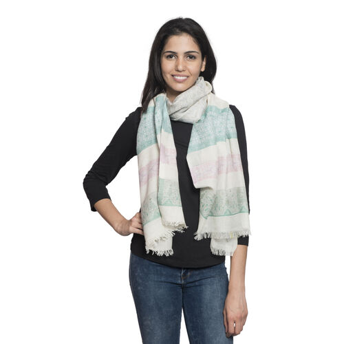 90% Cotton Green, Red, Pink and Multi Colour Stripe Pattern White Colour Jacquard Scarf (Size 180x70