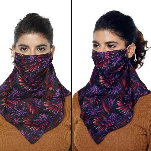 2-in-1 100% Silk Floral Printed Soft Feel Scarf and Protective Face Mask (Size 43x43cm) - Black, Red and Purple