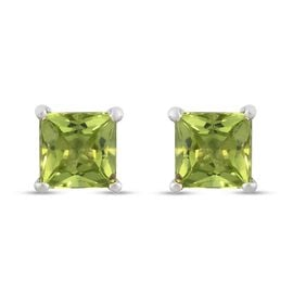 Peridot Solitaire Stud Push Post Earring in Platinum Overlay Sterling Silver 2.00 ct  2.000  Ct.