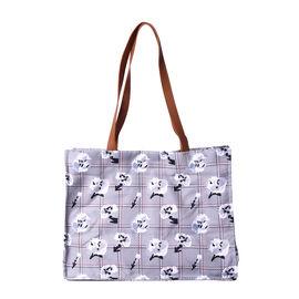 Floral Print Tote Bag with Zipper Closure (34x13x24cm) - Grey