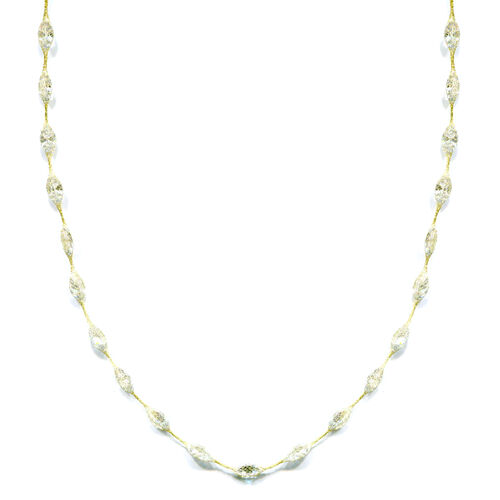 Italian Made 9K Yellow Gold Simulated Diamond Station Necklace (Size 18)