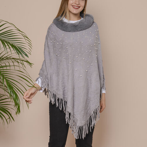 Knit Poncho with Faux Fur Collar, Simulated Pearls and Fringe Detail (Size 99x81+10cm) - Light Grey