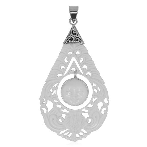 Princess Bali Collection OX Bone Carved Face (Rnd) Pendant in Sterling Silver 9.000 Ct.