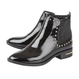 Lotus Lolita Patent Ankle Boots Black