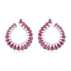 19.25 Ct African Ruby Hoop Style Earrings in Rhodium Plated Sterling Silver 7.8 Grams