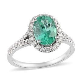 RHAPSODY 950 Platinum AAA Boyaca Colombian Emerald and Diamond (VS/E-F) Ring 2.05 Ct, Platinum wt. 4