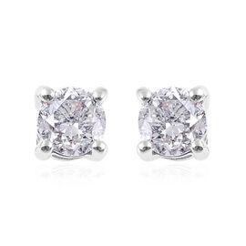 1 Carat Diamond Stud Earrings in 14K White Gold SGL Certified I1 I2 GH
