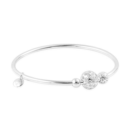 RACHEL GALLEY Rhodium Plated Sterling Silver Lattice Balls Bangle (Size 8), Silver wt 19.23 Gms.