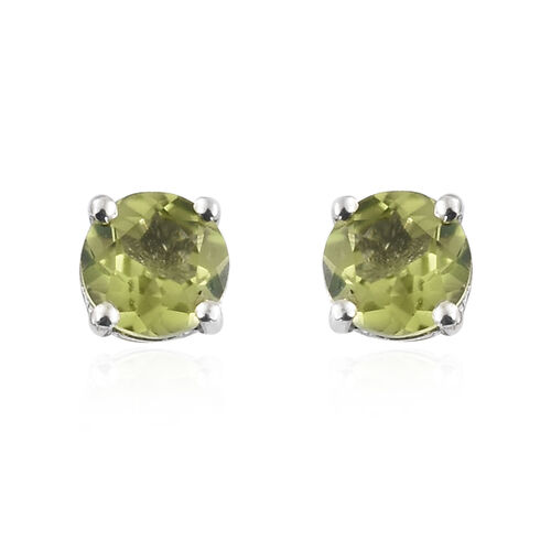 Hebei Peridot (Rnd) Solitaire Earrings (with Push Back) and Pendant in Platinum Overlay Sterling Silver 2.000 Ct.