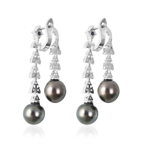 GP - Tahitian Pearl, Natural Cambodian Zircon and Blue Sapphire Leaf Vine Dangle Earrings (with Clasp Lock) in Rhodium Overlay Sterling Silver, Silver wt 8.23 Gms