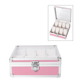 Aluminium 8 Slot Watch Box (Size 21.5x20x8 Cm) - Pink