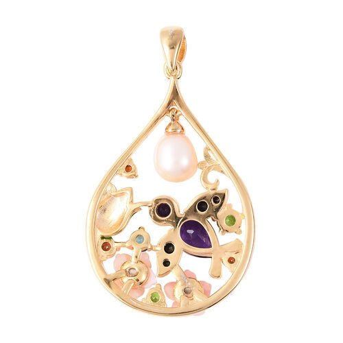 Jardin Collection - Freshwater Pearl, Amethyst and Multi Gemstone Enamelled Floral Pendant in Yellow Gold Overlay Sterling Silver 3.91 Ct.
