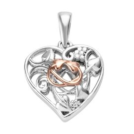 Platinum and Rose Gold Overlay Sterling Silver Heart Pendant, Silver wt 3.85 Gms