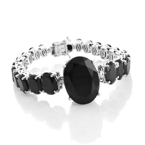 Rare Size Boi Ploi Black Spinel (Ovl 35.20 Ct) Bracelet (Size 7.25) in Platinum Overlay Sterling Silver 91.250 Ct. Silver wt. 25.29 Gms.