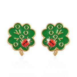 Platinum and Yellow Gold Overlay Sterling Silver Enamelled Tree Stud Earrings (with Push Back), Silv