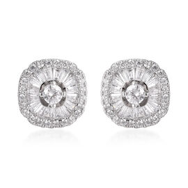 ELANZA Simulated Diamond (Rnd and Bgt) Cluster Stud Earrings (with Push Back) in Rhodium Overlay Ste