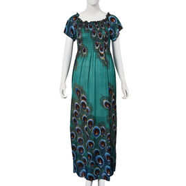 Teal Green and Brown Colour Peacock Feathers Pattern Summer Dress (Size 48x125 Cm)